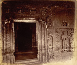 Central doorway and sculpture of Avalokiteshvara, Buddhist Vihara, Cave IV, Ajanta